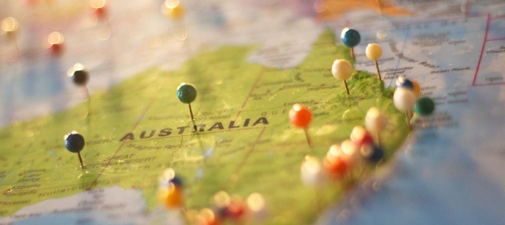 Australien auf der Landkarte