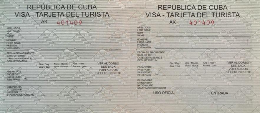 Muster vom Kuba Visum