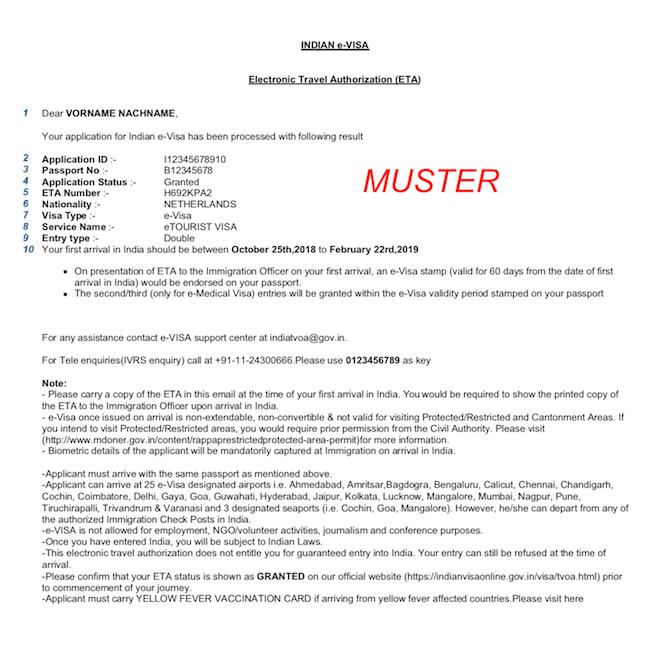 PDF Muster Visum Indien