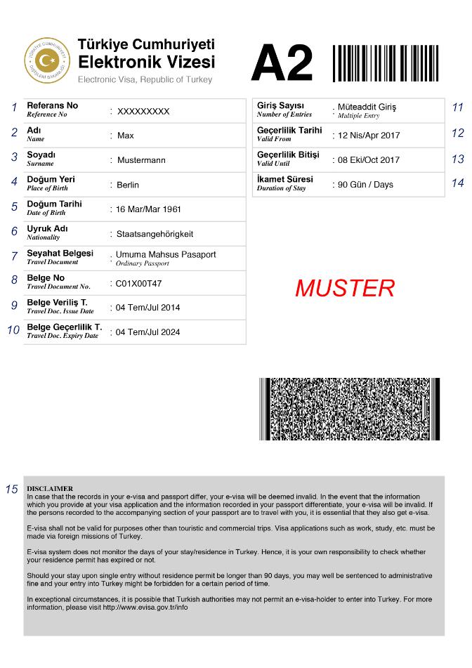 E-Visum Türkei